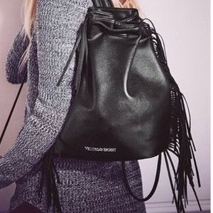 Victoria Secret Black Fringe NEW Backpack